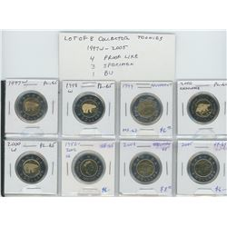 Lot of 8 different Collector Toonies 1997W – 2005. 1997W, 1998W, 1999 Nunavut, 2000 Knowledge, 2000W