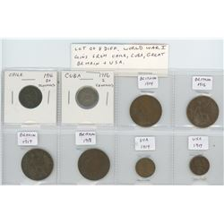 Lot of 8 different World War I coins 1914-1918 from Chile, Cuba, Great Britain and U.S.A.