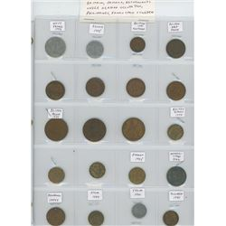 Lot of 20 different World War II coins 1939-1945 including Vichy France, France, Great Britain, Jama