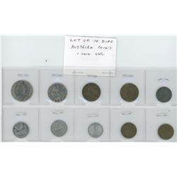 Lot of 10 different Austrian coins. 1 Unc.