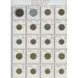 Lot of 20 different French coins including 1909 10 centimes, 1944 Vichy 2 francs, plus high denomina