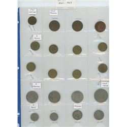 Lot of 20 different British Coins 1860 – 1967. Includes 1860 farthing, half pennies, 3 pence, 2 shil
