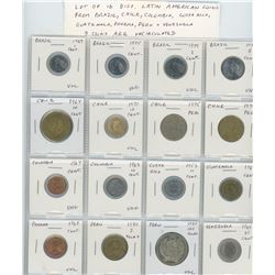 Lot of 16 different Latin American coins from Brazil, Chile, Colombia, Costa Rica, Guatemala, Panama