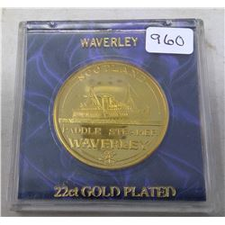 Waverley Paddle Steamer 22 karat gold plated medal. In case of issue.