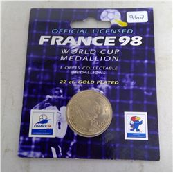 France 1998 World Cup Medallion. 22 karat gold plated. Unc. In folder of issue.