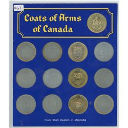 Lot of13 Coats of Arms of Canada medals issued by Shell Dealers in Manitoba in 1967. Housed in a fol