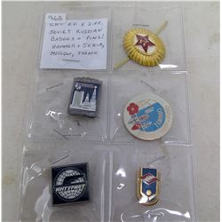 Lot of 5 different Soviet Russian Badges and Pins: Includes Hammer & Sickle, Moscow and Tornio.