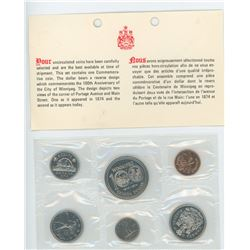 1974 6-coin Proof Like Set. Nickel Dollar celebrates the 100th Anniversary of the City of Winnipeg.