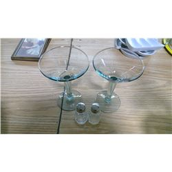 MARTINI GLASSES AND SLAT AND PEPPER SHAKERS