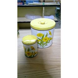 2 MATCHING TIN CONTAINERS