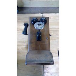 ANTIQUE OAK BOX WALL MOUNTED TELEPHONE AND SOME PARTS
