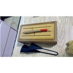 WOODEN INSTRUMENT DRUM AND METAL BELL LIKE INSTRUMENT