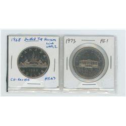 1968 Dbl horizon line, 1973 P.E.I nickel dollars