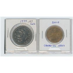 1977 SWL-attached jewels nickel dollar, 1910-2010 Canadian navy nickel/bronze dollar