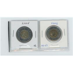 2004 and 2006 MS-63 toonies