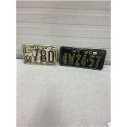 1950 New Jersey & New York Licence Plates