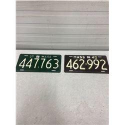 1937 & 1940 Massachusetts Licence Plates
