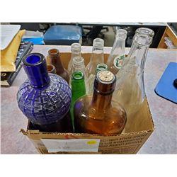 BOX OF MISC BOTTLES (COCA-COLA, CANADA DRY, ETC)