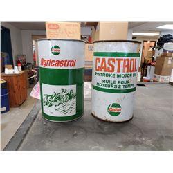 2 X CASTROL OIL TINS (ONE FULL)