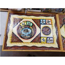 3 X OLD CANVAS CUBA ART PCS