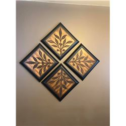 "Wall Decor – Carved Wood & Metal Approx size per tile - 12""x12"""