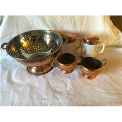Copper Craft, Strainer, Salt/Pepper, Cream/Sugar