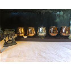 5 Candle Votif Burner w/ Wood Tray & Elephant Oil/Wax Burner