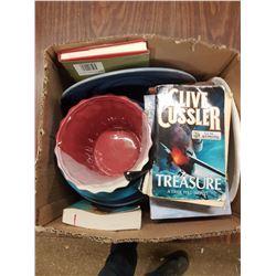 Box Lot Books & Kitchenware