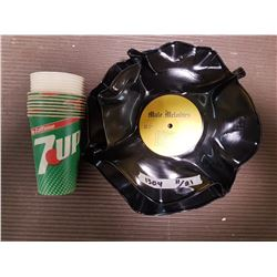 7UP Paper Cups & Bowls Made of Records