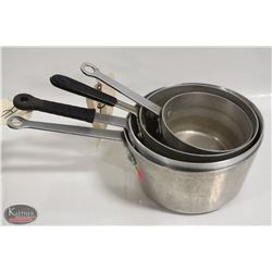 LOT OF 4 ASSORTED SIZE SAUCE PANS. SIZES RANGE