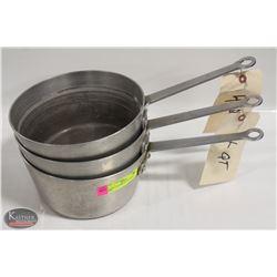 LOT OF 3 ALUMINUM 4QT SAUCE PANS