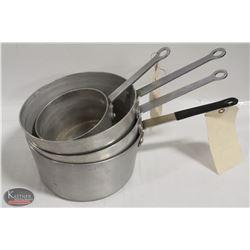 LOT OF 3 - 5 QT SAUCE PANS W/ 1 - 1.5 QT SAUCE PAN
