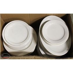 LOT OF ASSORTED OVAL SERVING PLATES, ROUND DINNER