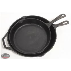 """LOT OF 2 CAST IRON FRYING PANS. 10"""" & 12"""""""