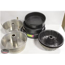 LOT OF 6 ASSORTED SIZE SPRINGFORM CAKE PANS W/ 4