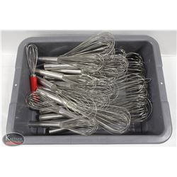 BUS BIN W/ ASSORTED WIRE WHIPS