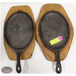 """LOT OF TWO 15"""" X 7"""" CAST IRON  SKILLET W/ WOODEN"""