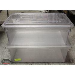 2 RUBBERMAID MAX BOX FOOD GRADE TUBS W/ LIDS