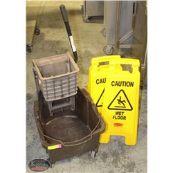 JANITORIAL MOP PAIL W/ SQUEEGEE& 2 WET FLOOR SIGNS