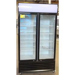 NEW 1000L UPRIGHT HINGED DOUBLE GLASS DOOR COOLER