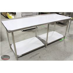 "NEW JOHNSON ROSE 30"" X 84"" S/S WORK TABLE W/ RISER"