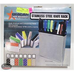NEW STAINLESS STEEL KNIFE RACK W/ BLACK INSERT