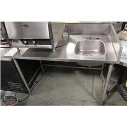 4' SS PREP TABLE WITH SINK