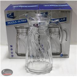 LOT OF 2 NEW 1800ML GLASS PITCHERS W/ LIDS