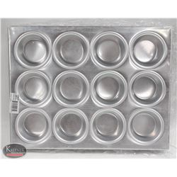 LOT OF 3 NEW ALUMINUM WINCO 12 CUP MUFFIN PANS