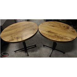 TWO OVAL SOLID WOOD-TOP COMMERCIAL TABLES