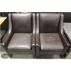 2 LARGE BROWN LEATHERETTE SOFA CHAIRS