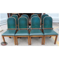 LOT OF 8 WOOD PADDED DINING CHAIRS