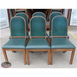 LOT OF 6 WOOD PADDED DINING CHAIRS