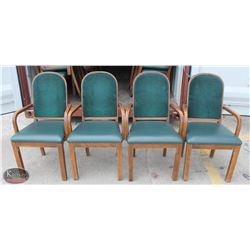 LOT OF 4 WOOD PADDED ARMCHAIRS